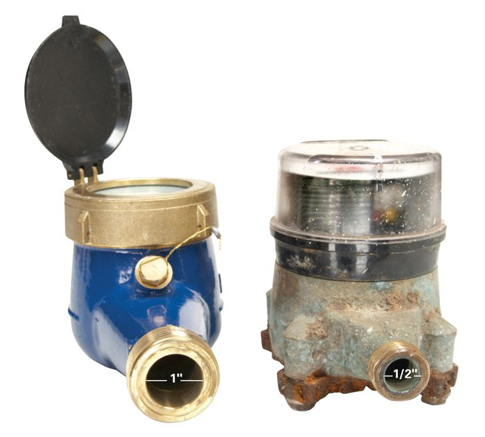New 1-in. and old 3/4-in. water meters
