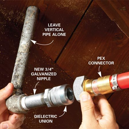 <b>Photo 1: Replace horizontal runs</b></br> Avoid trouble by reusing old elbows and tees. Leave the old 90-degree elbows and tees in place and remove the old horizontal pipes to each one. Clean out as much rust and corrosion as you can. Then install new galvanized nipples and dielectric unions before you convert to copper or PEX.