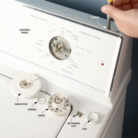 <b>Photo 1: Access the controls</b></br> Unplug the washer. Then remove the screws that hold the control panel in place and tip the top of the panel forward.