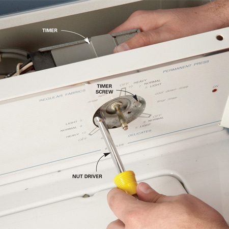 <b>Photo 2: Remove the timer</b></br> Use a nut driver to remove the screws that hold the timer to the front panel. Pull the timer back and out.