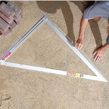 <b>Folding giant triangle</b></br> The large triangle speeds up landscape paver layouts.