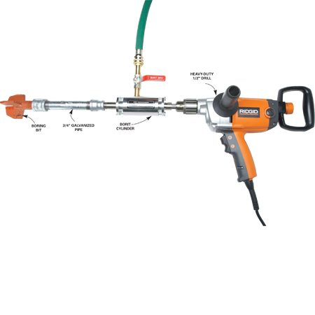 <b>Borit tool</b></br> Connect a drill and garden hose to the cylinder. Then thread on a length of pipe and screw the boring bit to the end. Water lubricates the bit as it bores through the ground.