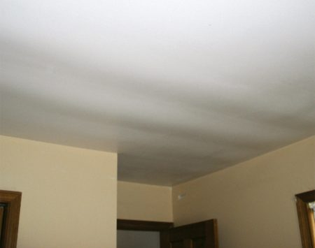 "<b>Pillowed drywall</b></br> Ceiling drywall that sags between joists or trusses is sometimes called ""pillowed"" drywall."