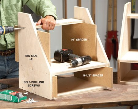 <b>Photo 1: Build the bins</b></br> Position the shelves with spacers and tack them in place with a brad nailer. Then add screws for strength.
