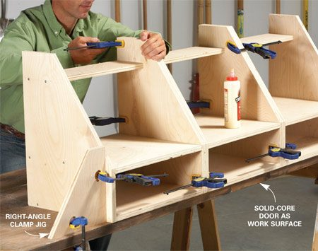 <b>Photo 2: Join the bins</b></br> Line them up on a flat surface, then glue and clamp them together. A homemade squaring jig holds the bins square until the back is on.