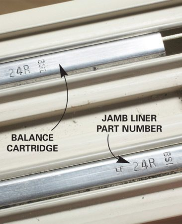 <b>Photo 3: Look for part numbers</b></br> Find the information you'll need to order new jamb liners stamped on the metal balance cartridges.