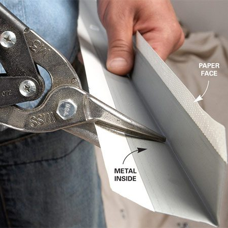<b>Cutting to length</b></br> If you need to cut pieces to length, simply hold the bead in place, mark the cut, and cut the bead with tin snips. Where pieces run to the floor, cut them about 1/2 in. short. The baseboard will cover the gap.
