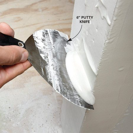 <b>Base coat</b></br> <p>Spread a thick  layer of all-purpose joint compound on both sides   of the corner  and smooth it off with a putty knife. Avoid lightweight   joint compound  because it doesn't adhere as well to the   corner bead.  Strive for an even, consistent layer of joint compound   about 1/8 in. thick. Don't leave any thin or dry  spots. </p>