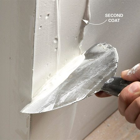 <b>Final passes</b></br> <p>After the  embedding coat of mud is dry, apply another coat of joint  compound and smooth it. Do a final coat after the second  coat dries. Sand the corner with 150-grit drywall  sandpaper mounted on a drywall sander. Sand  carefully and only enough to blend the joint compound into  the drywall and remove high spots. If you sand too  much, you'll damage the paper face on the corner bead.  If you do sand through the joint compound and create a  fuzzy area, cover it with a thin layer of joint compound and resand when it dries. </p>