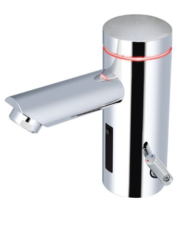 <b>Sloan Lumino faucet</b></br> The Lumino faucet has a storage cell that transforms light into electrical energy. The illuminated ring visually indicates the water temperature. Visit <a href='http://www.sloanvalve.com'>sloanvalve.com</a>.