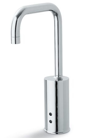 <b>Kohler touchless gooseneck faucet</b></br> Kohler's touchless battery-powered gooseneck faucet (K-10952-4-CP) for single-hole installations has a mixer handle that allows you to preset the water temperature. It features solid brass construction and includes a 6-volt lithium battery that lasts three to five years. Visit <a href='http://www.homedepot.com'>homedepot.com</a>.