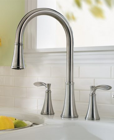 <b>Price Pfister Petaluma faucet</b></br> Unlike most other kitchen pull-down faucets, Price Pfister's Petaluma faucet has two handles. Available at home centers.