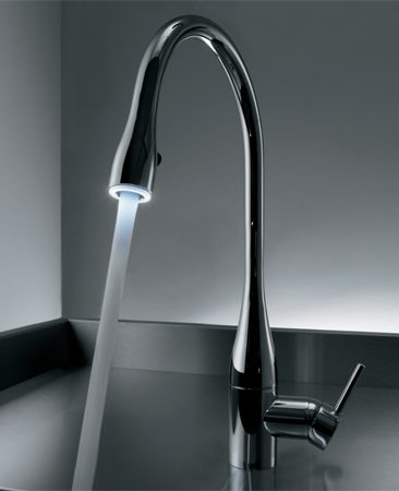 <b>KWC Eve faucet</b></br> KWC's Eve faucet transforms the stream of water into a glowing light source thanks to an LED activated by a switch in the pull-down spray nozzle. Pricey but gorgeous. Available from online retailers. Visit <a href='http://www.kwc.com'>kwc.com</a>.