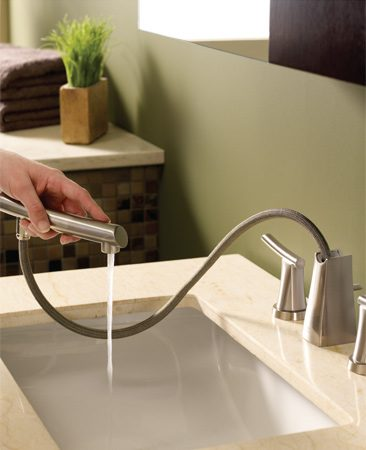 <b>American Standard Green Tea lav faucet</b></br> American Standard's Green Tea widespread bathroom faucet has a pullout wand spout that makes giving your pet a bath, washing your hair or cleaning the sink area a breeze. Visit <a href='http://www.americanstandard-us.com'>americanstandard-us.com</a>.