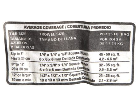 "<b>Coverage guidelines</b></br> <p>Your thin-set probably  has a chart like this on the label. Don't rely on it. The  recommendations are a good starting point, but they don't  guarantee a thin-set bed thick enough to provide full contact  with the tile. And without full contact, you don't get full  support or adhesion.</p> <p>As the chart shows,  larger tiles require larger trowel   notches (to provide a  thicker bed). But other factors matter too: the flatness of the  wall or floor, or the texture of the tile's back. So the only  reliable way to know that the bed is thick enough is to set  the first few tiles, then immediately pry them up. If the tile  hasn't made full contact, you'll see it. The easiest solution  is to use the next notch size. With tiles larger than 12 in.,  it's a good idea to also ""back butter"" them with thin-set. Also  keep an eye on ""squeeze-out"" during the job. If you don't see thin-set squeezing out between tiles,  pull up a tile to check coverage. </p>"