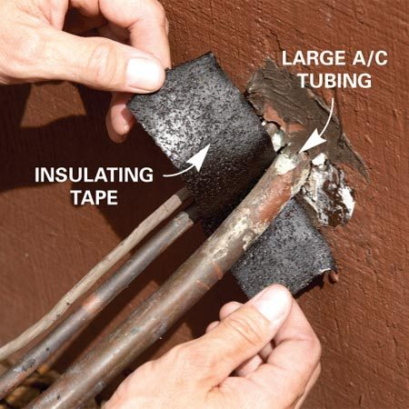 <b>Seal each end of the tubing</b></br> Wipe off the condensation and wrap a few winds of the sticky poly tape on the tubing where it exits the house. Then dry and wrap the service valve on the condenser end of the tubing. Squeeze it in tight around the tubing.