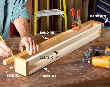 <b>Photo 1: Mark trim parts in place</b></br> Cut the 1-in. band and the cove moldings extra long. Fit the miter on one end, then mark the opposite end for cutting.