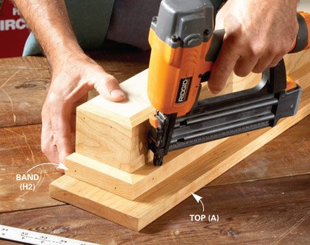 <b>Photo 3: Nail on the top</b></br> Glue the band and nail through it into the top.