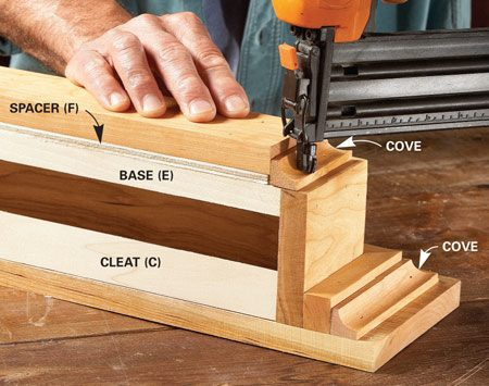 <b>Photo 4: Install the cove moldings</b></br> Add the 1/4-in. spacer and bottom board. Then finish up by fitting and nailing the cove molding.