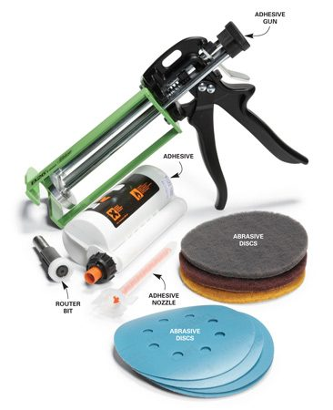 <b>Sand seams and rout edges</b><br/>Mount the abrasive discs on a random orbital sander and smooth out all the glued seams. Use the router bit with the nylon bearing to add a decorative edge.