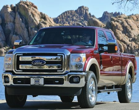 <b>2011 Ford Super Duty Pickup</b><br/>Haul heavy loads up steep embankments (with engine speeds as low as 900 rpm) with Ford's completely new TorqShift six-speed transmission. Then use the hill descent feature to maintain a safe speed when going downhill.