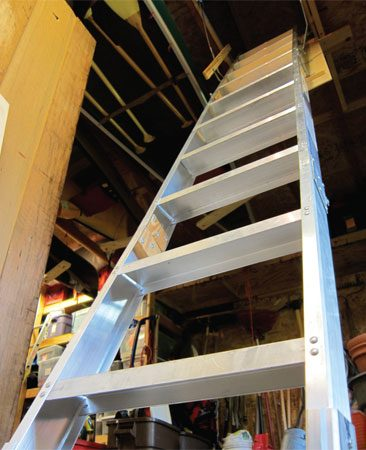 <b>Attic ladder</b></br> This heavy-duty aluminum pull-down ladder sells for about $450. It's a little spendy but worth it for the extra strength and longevity.