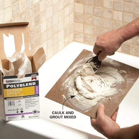 <b>Photo 1: Use grout to color-match the caulk</b></br> Squeeze caulk onto a mixing board, making sure you use enough to complete the entire job (it'll be hard to match if you have to add more later). Then add colored grout to the caulk and mix thoroughly with a 3-in. putty knife.