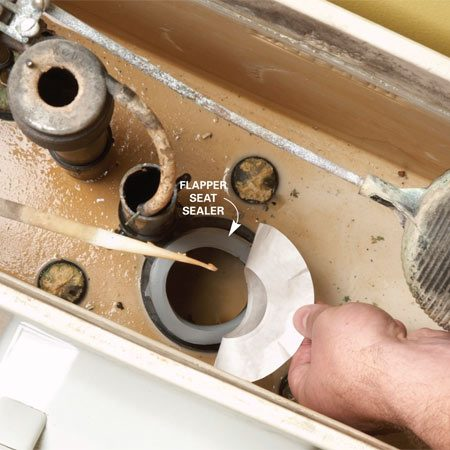 <b>Repair the flush seat</b></br> Follow the directions included with your flush seat repair kit to seal a new repair seat onto the old, damaged seat.