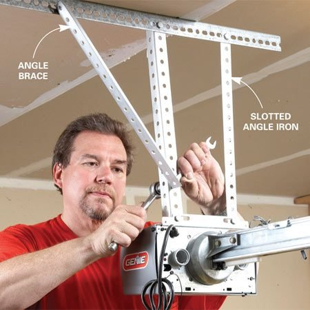 <b>Hang the opener with angle iron</b></br> Don't use the flimsy strap that comes with some openers. Solid  mounting means less vibration and a longer life. If the opener is  more than 6 in. from the ceiling, attach an angle brace to eliminate sway.