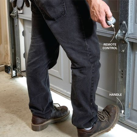 <b>Check the opening force</b><br/>Rest your foot on the door and open it with a remote control. The  light pressure from your foot should cause the door to stop. If it  doesn&#39;t, adjust the opening force.