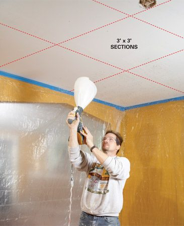 <b>Blast the ceiling</b></br> When spraying texture onto a white ceiling, it's easy to skip  some areas and overdo others. For consistent coverage, work  across the room in a 3 x 3-ft. grid pattern.