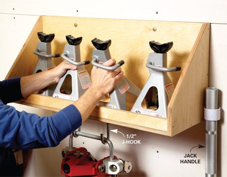 <b>Jack and jack-stand holder </b></br> Free up floor space by storing your jack stands in this wall-hung holder. Then hang up your lightweight floor jack underneath. Your floor is now clutter-free.