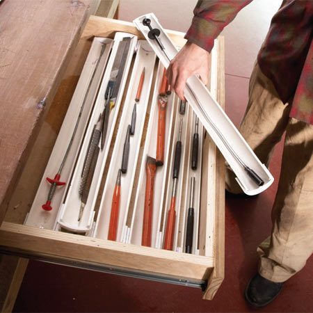 <b>Drawer organizers on the cheap</b><br/>Slit some up PCV pipe down the middle and you&#39;ve got stackable drawer organizers to keep all your small tools handy.