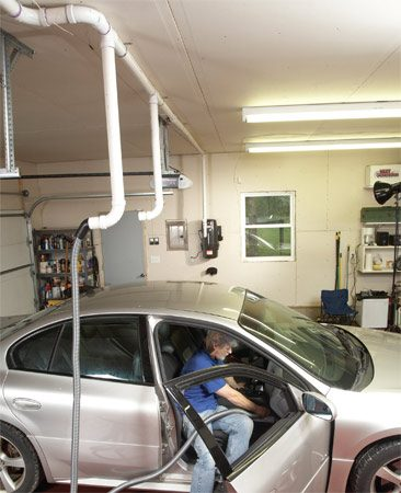 <b>The ultimate garage central vacuum layout</b></br> Install 2-in. sanitary tees on the ceiling and drop a pipe near each car door. Install a long 90-degree bend and a stubout to connect the hose. Cap off the stubout with a standard 2-in. pipe cap when not in use.