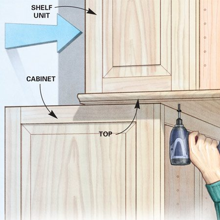 <b>Slide out the top, screw from below</b></br> This trick lets you fasten shelves to the cabinet top without visible screws