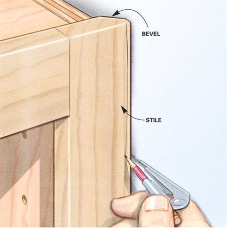 <b>Bevel before you scribe</b></br> Beveling makes it easier to contour the stile to fit the wall.