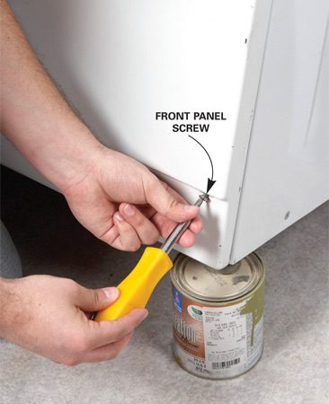 <b>Photo 1: Remove the front panel screws</b></br> Unplug the washer. Then prop up the washer and remove the two screws that secure the front panel.