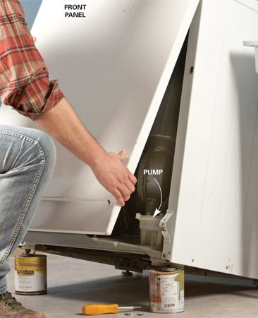 "<b>Photo 2: Remove the front panel</b></br> Pull the lower edge of the panel outward and ""unhook"" the top. On a Whirlpool washer, you'll have to remove the entire shell to access the pump."