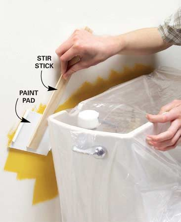 <b>Long reach paint pad keeps tight spots neat.</b><br/>If you have a tight spot to paint, remove the pad from a paint edging tool (about $2 at home centers). Hot-glue the pad to a stir stick, and you've got a painting tool that will fit behind toilet tanks and radiators.