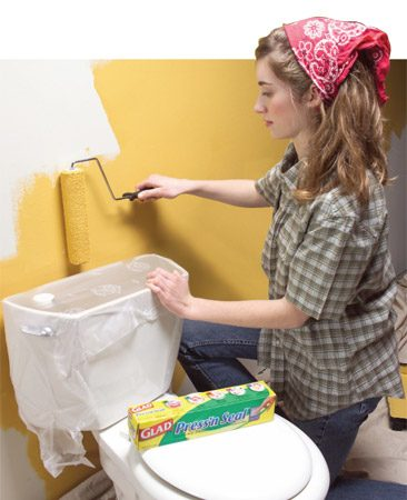 <b>Protect awkward objects with plastic wrap</b><br/>Glad Press'n Seal plastic wrap (available at discount stores) goes on fast and stays right where you put it. Paint can seep under the edges, though, so it's no substitute for masking tape in spots where you need a sharp edge.
