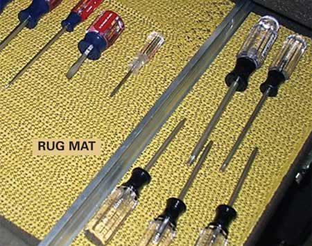 <b>Nonslip rug mat keeps tools in place.</b></br> Rubbery shelf liner works great in toolboxes, but there's a cheaper alternative. Cut a nonslip rug mat (at discount stores) to fit any size drawer and keep tools from sliding around.