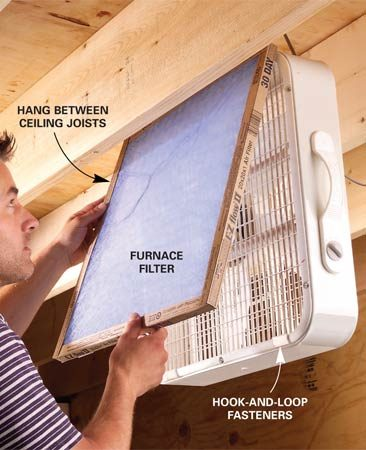 <b>Use a furnace filter and a box fan</b></br> Can't afford an air cleaner for those dusty woodworking jobs on the weekend? Think again. Attach a furnace filter with hook-and-loop tabs to the air intake side of a box fan and hang the fan between the ceiling joists so you won't hit your head on it while you work. Just switch it on and fine dust particles from sanding and sawing will be drawn into the filter by the vacuum created by the fan.