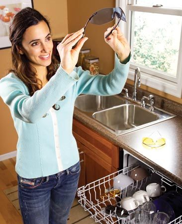 <b>Wash safety glasses in dishwasher to remove grime</b></br> Toss your safety glasses into the top rack of your dishwasher after a messy project. Smudges, sunscreen and sweat will disappear with no effort.