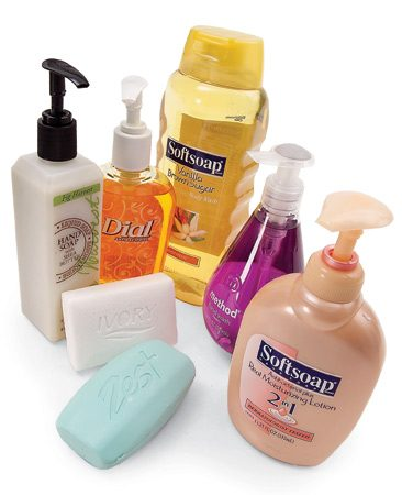 <b>Use gels, liquids or synthetic bar soaps</b></br> In terms of chemistry, some soaps aren't really true soap. Any soap in a liquid or gel form and some bar soaps, such as Zest and Ivory, are synthetic soap. These non-soap soaps are much less likely to form that dreaded layer of tough scum on your sink or tub.