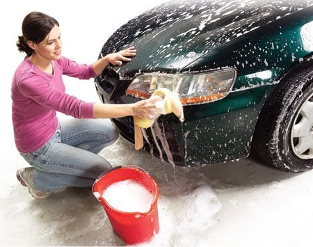 <b>Cover sponge with pantyhose or tights</b></br> Put your car-washing sponge inside a pair of old pantyhose for a nonabrasive, paint-friendly scrubber. The threads act like thousands of little scrapers that rub off insects and gunk with every swipe.
