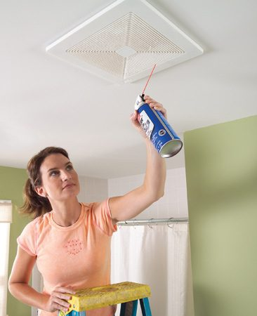 "<b>Spray away dust with canned air</b></br> <p>If the grille on your bathroom exhaust fan is clogged with dust, try a trick that's faster and more effective than vacuuming: Turn on the fan and blast out the dust with ""canned air"". The fan will blow the dust outside. This works on the return air grilles of your central heating and cooling system too. Run the system so that the return airflow will carry the dust to the filter. You'll find canned air at home centers and hardware stores, usually in the electrical supplies aisle.</p> <p><strong>Caution:</strong> The cans contain chemical propellants, not just air. Don't let children play with the can.</p>"