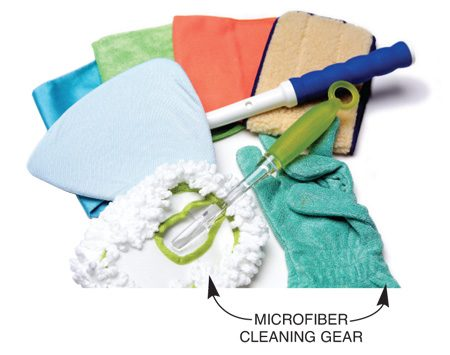 <b>Use microfiber cloths, mops and more</b></br>