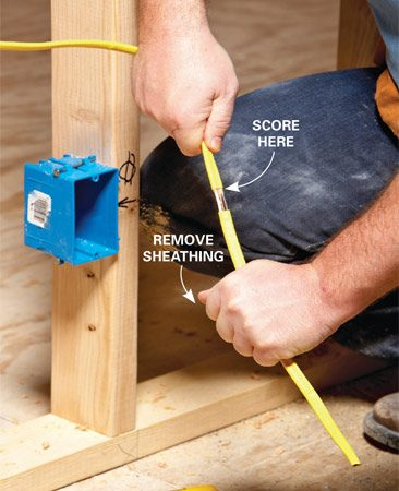 <b>Strip the sheathing at the mark</b><br/><p>Score the  sheathing at the &ldquo;thumb mark&rdquo;   and slide it  off. Then feed the wires into   the box. As  long as you don&rsquo;t have the cable   stretched  tight, there will be enough   &ldquo;play&rdquo; to  make final adjustments after   you&rsquo;ve inserted  the conductors into   the box.  Remember, the electrical   code  requires that at least 1/4 in. of   sheathing be  visible inside the box.</p>