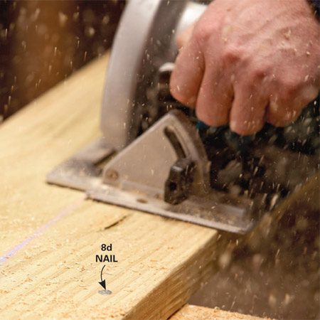 <b>Nail boards to sawhorses for stability</b><br/><p>Whenever  you have to rip boards and there&rsquo;s no   table  saw around, nail the board down to the top of   the  horses with 8d nails. Just keep the nails away   from  the cut. It&rsquo;s much safer than holding the board   with  one hand while you cut with the other. And   you&rsquo;ll  get a straighter cut. When the cut is complete,   pull  the board free, tap out the nails to expose the   heads and jerk them out. </p>