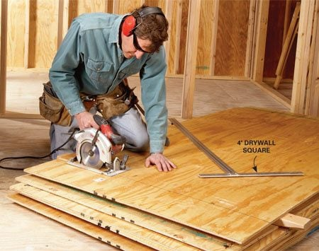 <b>Cut boards where they are</b><br/><p>Don&rsquo;t  pick up sheets of plywood and place them on horses every time you   have  a cut to make. Save your back and your time. Get down on your knees   and  work off the stack. Slip a couple of 2x4s under the sheet undergoing   surgery,  make your marks and then your cut. It&rsquo;s that   simple.  By the way, a drywall square is the   perfect  tool for marking crosscuts   on plywood. </p>